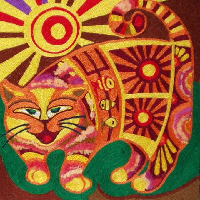 Рыжий толстый хитрый кот На завалинке живет, Солнцем светятся бока У такого добряка. гобелен нетканый, картон, нитки...