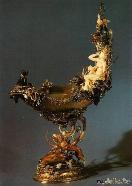 Раковины наутилуса с гравировкой и ажурной оправой