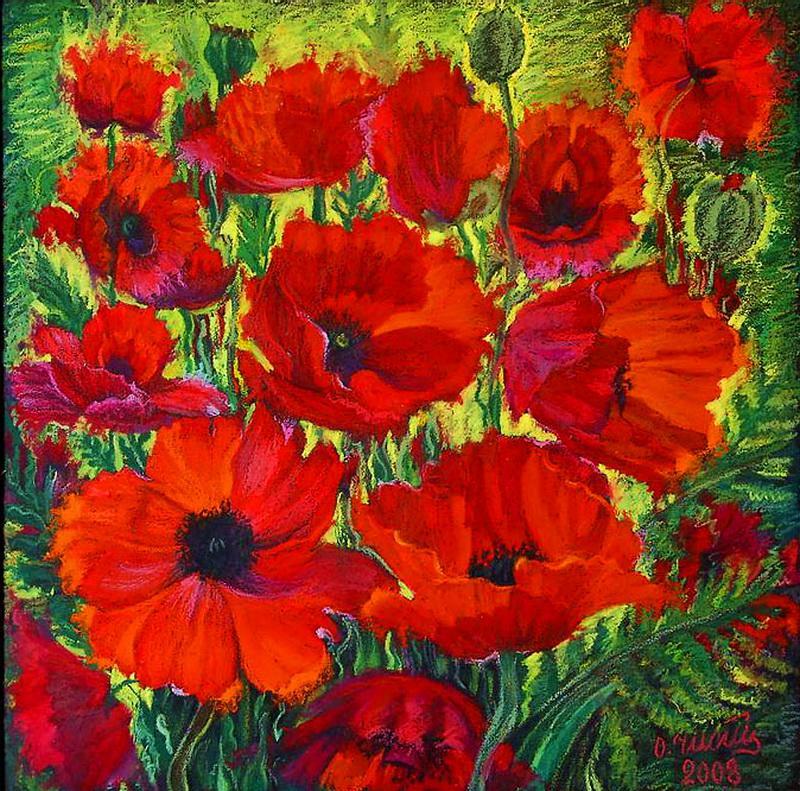 Полевые цветы рисунки маслом