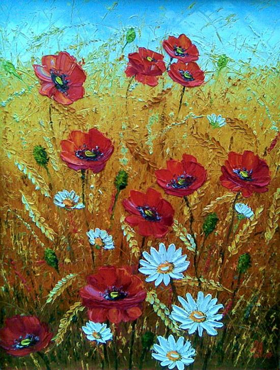 Цветы в пшенице художник алексеенко