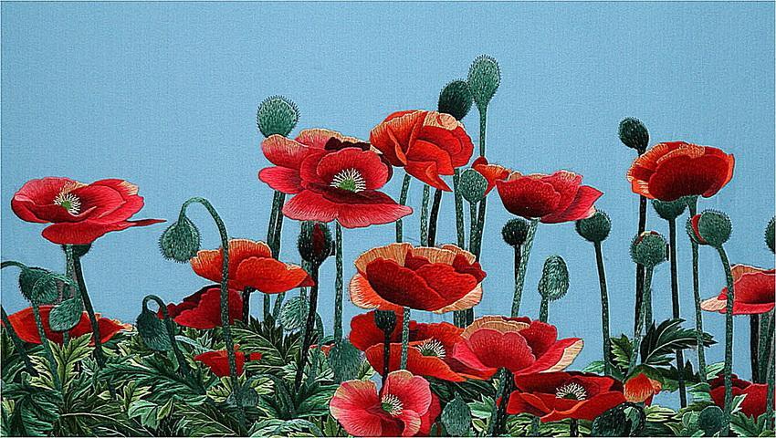 Поле маков Сюе Динь Тин / природа, птицы, цветы, картины, из сети, вышивка шелком, китайское искусство.