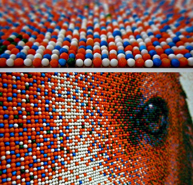 Портрет бигля из 221 тысячи сахарных шариков Joel_Brochu_pixelated_beagle_5