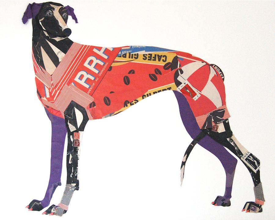 Очаровательны коллажии собак из старой бумаги