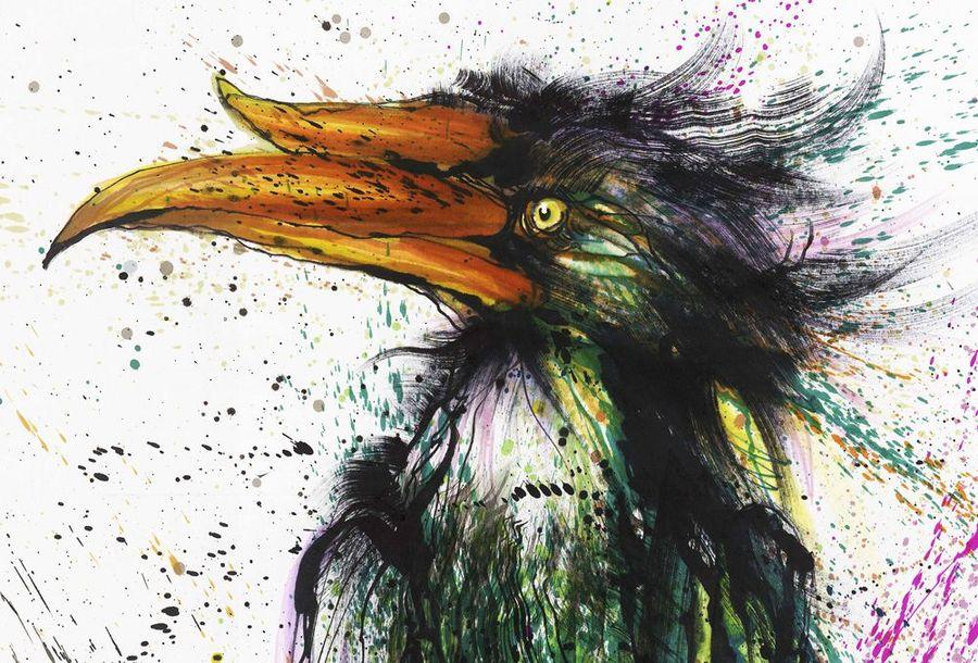 Чернильное граффити  китайского художника Hua Tunan