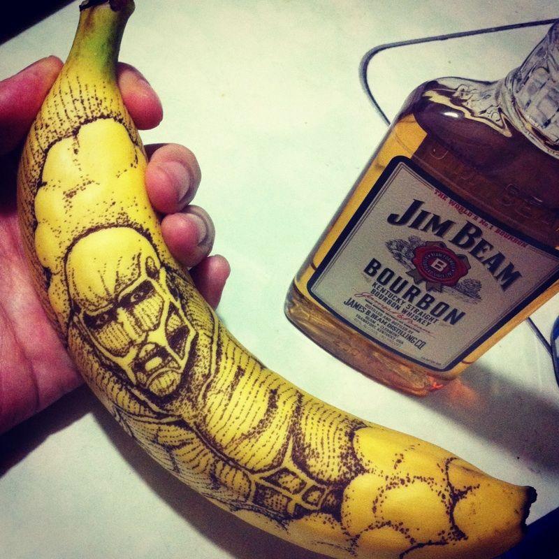 рисунки на бананах фото